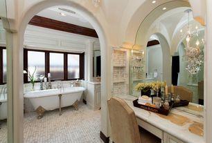 Traditional Master Bathroom with Clawfoot, terracotta tile floors, Casement, can lights, Chandelier, Standard height, Bathtub
