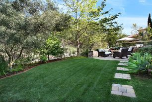 Modern Landscape/Yard with Pathway, Outdoor kitchen, Fence