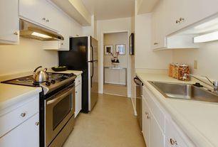 Modern Kitchen with gas range, Wood counters, Armstrong Heatherfield Tweed Wicker Basket Vinyl Sheet Flooring, dishwasher