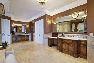 Traditional Master Bathroom with Vinyl floors, Crown molding, Master bathroom, Wall sconce, Simple marble counters, Art desk
