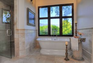 Traditional Master Bathroom with Shower, frameless showerdoor, Standard height, Bathtub, Wall sconce, Concrete tile