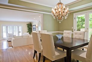 "Contemporary Dining Room with Hardwood floors, Carpet, Chandelier, Chair rail, Consenza 28"" wide antique brass chandelier"