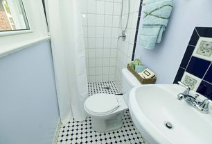 """Contemporary 3/4 Bathroom with Somertile - Victorian Octagon 2"""" Matte White with Glossy Black Dot Porcelain Tiles"""