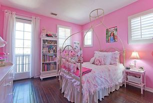 Traditional Kids Bedroom with double-hung window, Standard height, Hardwood floors, Glass panel door, no bedroom feature