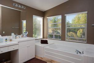 Modern Full Bathroom with Large Ceramic Tile, Raised panel, Westinghouse 66411 Chrome 4 Light Bathroom Vanity Strip