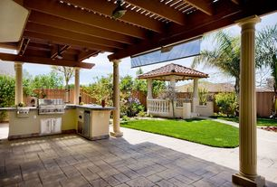 Mediterranean Porch with exterior interlocking pavers, Fence, Gazebo, Paint 2, Paint 1, exterior tile floors, Outdoor kitchen