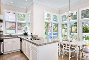 Traditional Kitchen with dishwasher, L-shaped, Simple granite counters, Raised panel, Concrete tile , Standard height