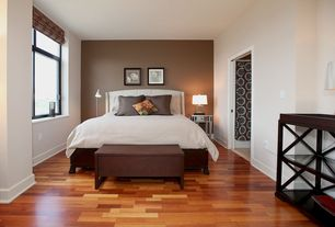 Contemporary Guest Bedroom with Standard height, Paint, Casement, Hardwood floors