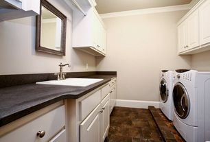Modern Laundry Room with quartz floors, Built-in bookshelf, Crown molding