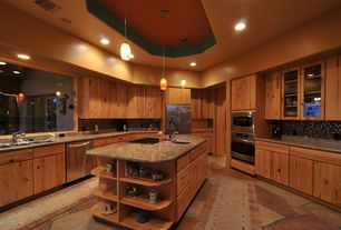 Rustic Kitchen with Specialty Tile, High ceiling, Flush, Complex granite counters, Glass panel, Built-in bookshelf, U-shaped