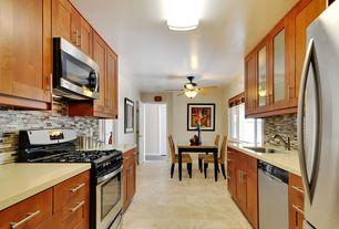 Contemporary Kitchen with flush light, Galley, Vinyl floors, Undermount sink, Flush, Glass Tile, Glass panel, Breakfast nook