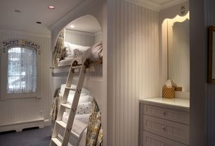 Cottage Kids Bedroom with Custom built-ins, Custom Bunk Beds, Carpet, Crown molding, Beadboard