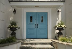 Modern Front Door with Reynolds 1-light outdoor wall sconce, exterior stone floors