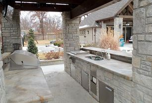 Craftsman Patio with Galley, Simple marble counters, Undermount sink, Complex Marble, Concrete floors