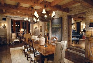 Rustic Dining Room with Hooker furniture willow bend ladderback side chair (set of 2), Wall sconce, Chandelier, Box ceiling