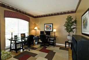 Modern Home Office with Carpet, Laminate floors, Arched window