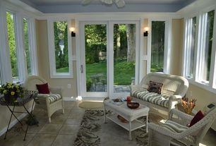 Eclectic Porch with exterior tile floors, French doors, Screened porch