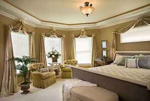 Traditional Guest Bedroom with flush light, Carpet, Crown molding