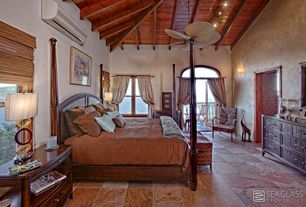 Craftsman Master Bedroom with French doors, Ceiling fan, Exposed beam, slate floors, High ceiling, Wall sconce