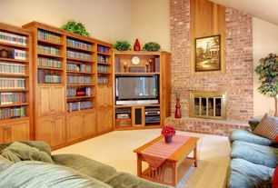 Country Living Room with Carpet, High ceiling, insert fireplace, Fireplace, Built-in bookshelf