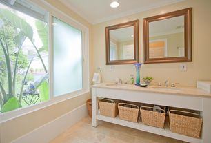 Modern Full Bathroom with Undermount sink, Manhattan Square Wall Mirror, Crown molding, Vinyl floors, Powder room