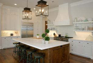 Traditional Kitchen with High ceiling, L-shaped, Flush, Kitchen island, Breakfast bar, Hardwood floors, Chandelier