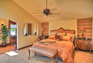 Mediterranean Guest Bedroom with Ceiling fan, High ceiling, Carpet