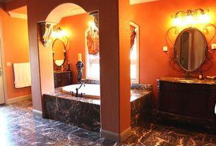 Traditional Master Bathroom with soapstone tile floors, High ceiling, Crown molding, Forte lighting 3 light bath vanity light