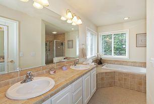 Traditional Full Bathroom with French doors, Bathtub, Framed Partial Panel, Rain shower, Carpet, Standard height, flush light