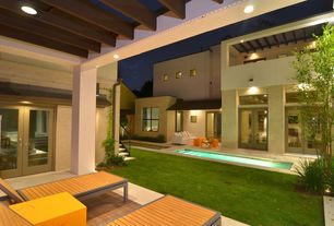 Contemporary Patio with Transom window, French doors, exterior tile floors, Trellis