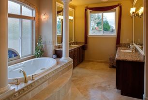 Traditional Master Bathroom with European Cabinets, Chandelier, Simple granite counters, Master bathroom, Vinyl floors