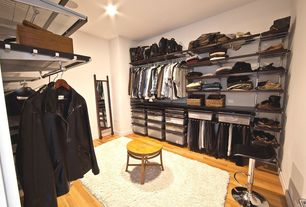 Contemporary Closet with Bamboo floors, flush light