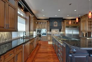 Traditional Kitchen with Bellawood Engineered Select Brazilian Koa Hardwood Flooring, Hardwood floors, Custom hood, Columns