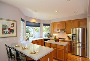 Traditional Kitchen with Inset cabinets, Flat panel cabinets, Undermount sink, Simple marble counters, Breakfast bar