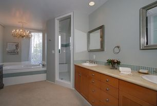 Modern Master Bathroom with Simple marble counters, Simple Marble, Frameless, Flat panel cabinets, Master bathroom, Carpet