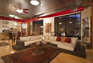 Eclectic Living Room with Carpet, Laminate floors, Transom window, Pendant light, Ceiling fan