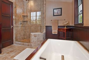 Craftsman Master Bathroom with Biove Drop-in Bath, frameless showerdoor, Rain shower, Wainscotting, High ceiling