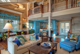 Eclectic Great Room with Wall sconce, French doors, Columns, Loft, Ceiling fan, Ellington tahiti 5 blade ceiling fan