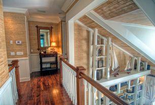 Cottage Hallway with Hardwood floors, Rectangle Tortoise Gloss Finish Bamboo Mirror, Wainscotting, Crown molding
