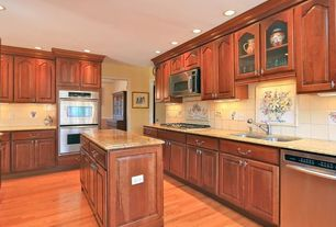 Traditional Kitchen with Large Ceramic Tile, Simple granite counters, double bowl undermount sink, Hardwood floors, L-shaped