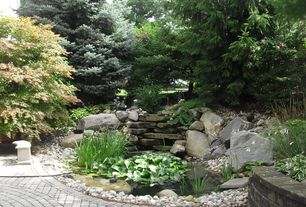 Asian Landscape/Yard with Raised beds, exterior tile floors, exterior brick floors, Pond, Water Hyacinth