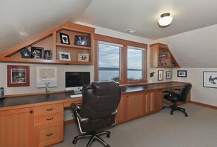 Craftsman Home Office with Carpet, Standard height, Built-in bookshelf, picture window, flush light
