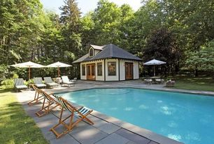 Craftsman Swimming Pool with Glass panel door, exterior tile floors, Arched window