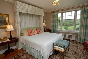Eclectic Guest Bedroom with flush light, Hardwood floors, Crown molding