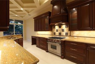 Traditional Kitchen with Box ceiling, Custom hood, Large Ceramic Tile, MSI - Colonial Cream Granite, Standard height, Paint 1