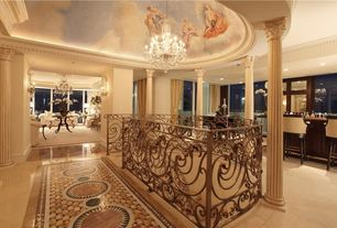 Traditional Hallway with complex marble floors, High ceiling, Chandelier, Crown molding