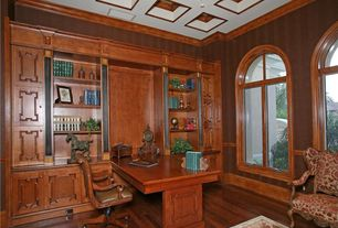 Traditional Home Office with picture window, Wainscotting, Box ceiling, Built-in bookshelf, High ceiling, Crown molding