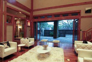 Craftsman Living Room with High ceiling, Hardwood floors, Carpet, West Elm Chevron Wool Shag Rug, French doors