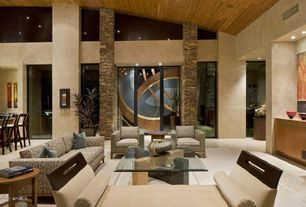 "Modern Living Room with High ceiling, Aeon Furniture ""X"" Coffee Table, Nearly Natural Bamboo Tree with Decorative Planter"