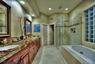 Rustic Master Bathroom with Handheld showerhead, Double sink, frameless showerdoor, Rain shower, Frameless, Vinyl floors